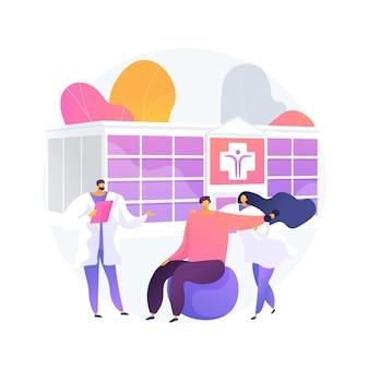 Реабилитационная больница абстрактная концепция векторные иллюстрации. реабилитационная больница, реабилитационный центр, стабилизация состояния здоровья, психиатрическая помощь, абстрактная метафора медицинского учреждения.