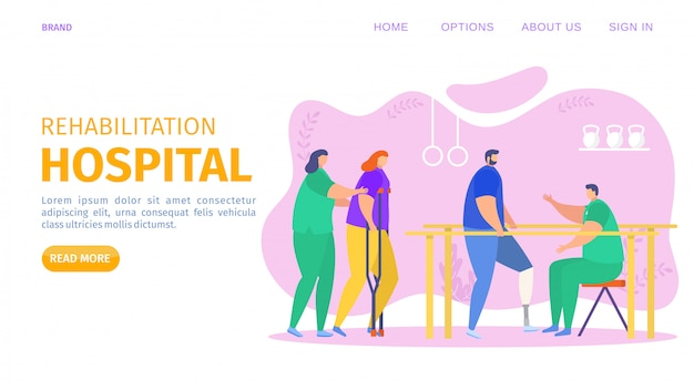 Rehabilitation hospital, clinical center landing   illustration. people physical injuries therapy to restore health in gym.