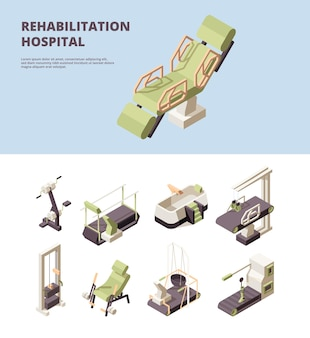 Rehabilitation hospital. healthcare center doctor showing exercise for disabled person physician assistant  isometric.