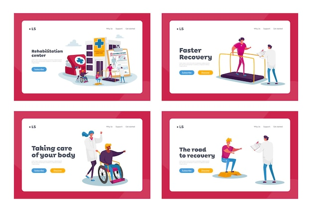 Rehabilitation landing page template set. tiny characters at huge medic things. doctor push wheelchair with injured woman in rehab clinic