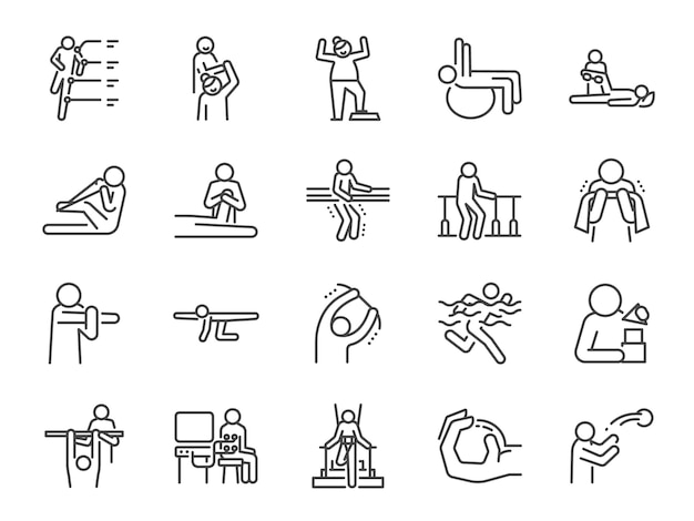 Rehabilitation line icon set
