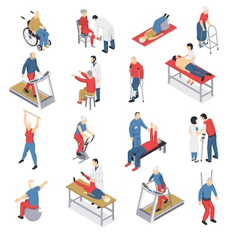 Rehabilitation physiotherapy isometric icons set