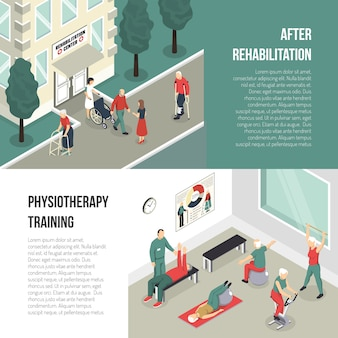 Rehabilitation and physiotherapy training banner set