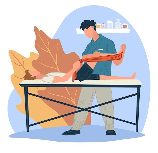부상이나 팔다리 골절 후 재활 과정. 건강 관리 특별 치료 및 근육 마사지. 안마사가 하는 환자를 위한 운동. 긴장을 풀고 훈련하십시오. 평면 스타일의 벡터