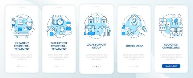 개념이있는 재활 유형 온 보딩 모바일 앱 페이지 화면