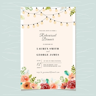Rehearsal dinner invitation card template with string light and floral watercolor