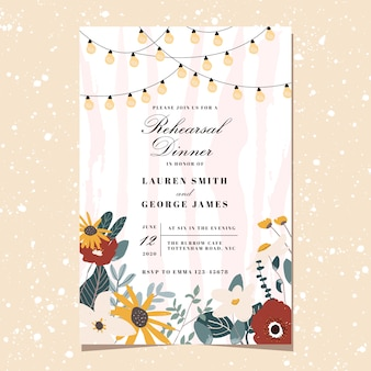 Rehearsal dinner invitation with cute floral and string light background