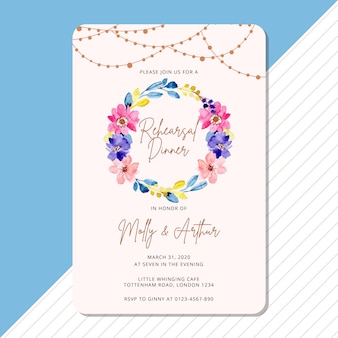 Rehearsal dinner invitation with floral wreath watercolor
