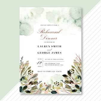 Rehearsal dinner invitation with foliage watercolor frame