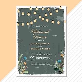Rehearsal dinner invitation with vintage floral and string light