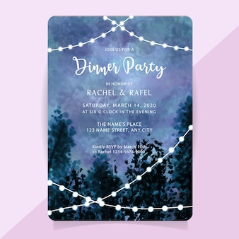 Rehearsal dinner party invitation card with watercolor misty forest background