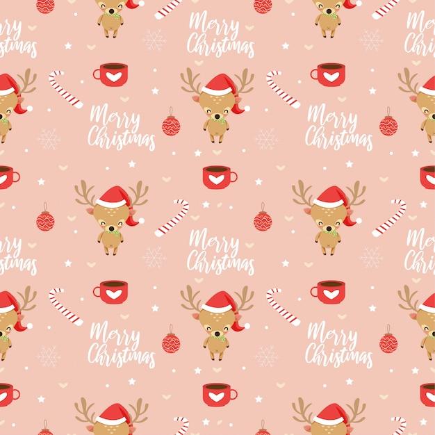 トナカイとクリスマスの要素のシームレスパターン