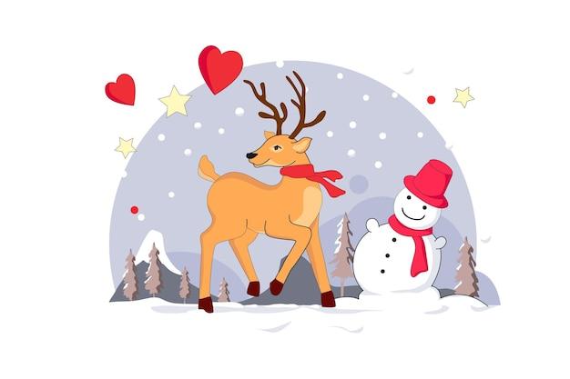 С рождеством христовым оленей и снеговиков плоский векторные иллюстрации