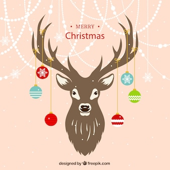 Reindeer background with ornaments