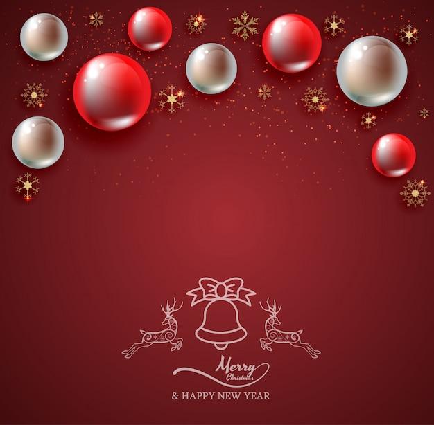 赤い背景、クリスマス、幸せな新年、トナカイ、ベルとクリスマスボール