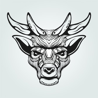 Reindeer black and white line art with decorative face
