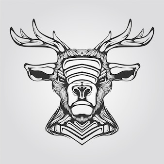 Reindeer black and white line art