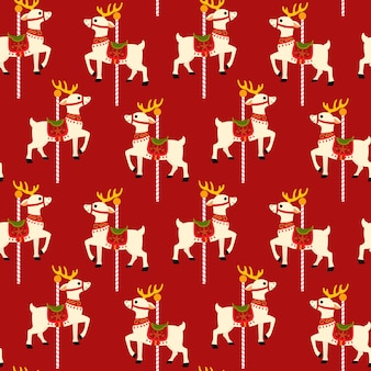 Reindeer carousel seamless pattern background