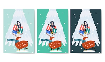 Reindeer carrying presents with horn vector