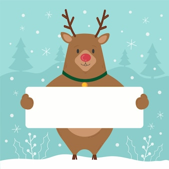 Reindeer character holding blank banner