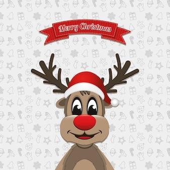 Reindeer christmas banner ornament background