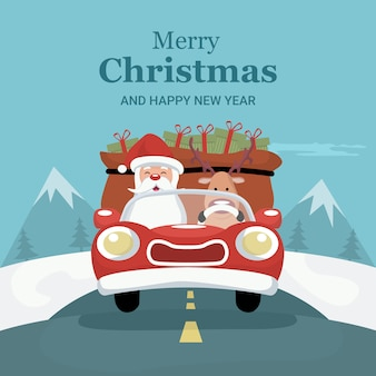 Reindeer christmas card driving car with santa claus