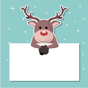 Reindeer christmas card sticking out on a sign