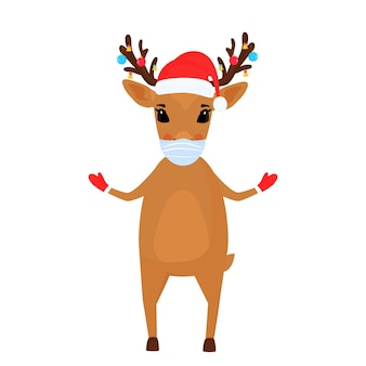 A reindeer christmas cartoon character wears a protective face mask.