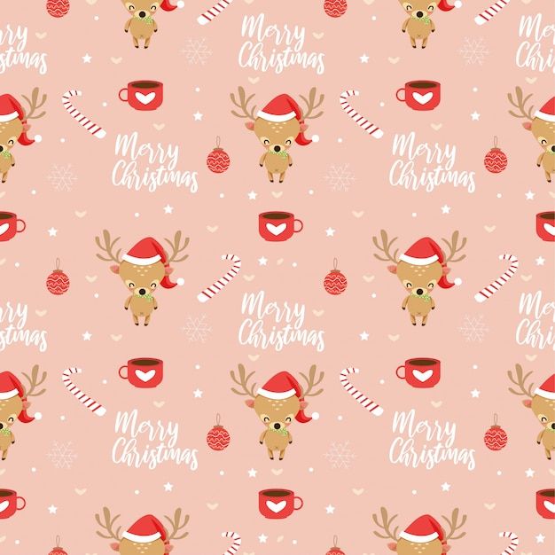Reindeer and christmas elements seamless pattern