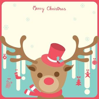 Reindeer christmas red border
