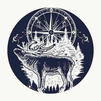 Reindeer and compass