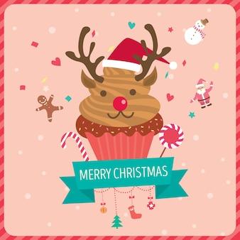 Reindeer cupcake icon
