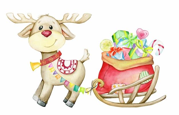 トナカイの鹿、プレゼント付きそり。漫画風の水彩イラスト。クリスマス