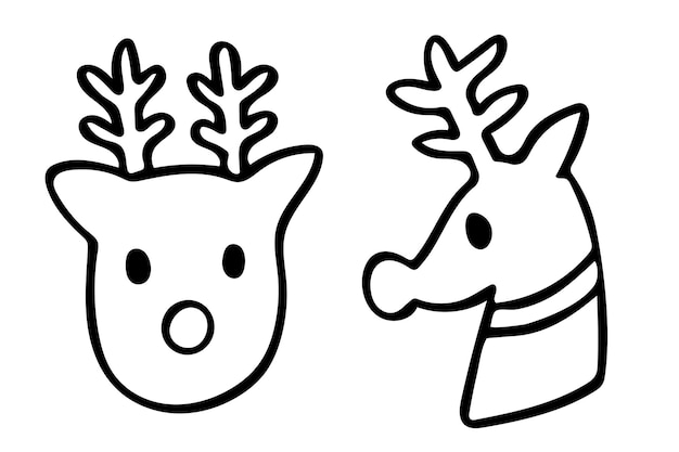 순록 낙서 벡터 크리스마스 휴가 시즌