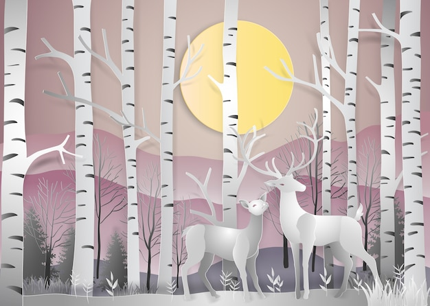 Reindeer in forest landscape at dawn