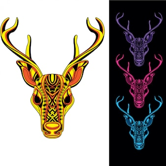 Reindeer from abstract decorative pattern with glow in the dark color set