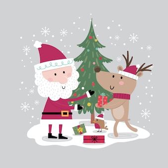 Reindeer giving to santa, christmas card with cute character,