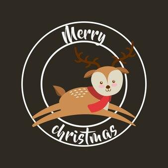 Reindeer happy merry christmas