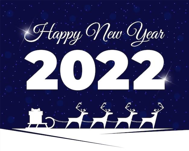 썰매에 선물 상자가 있는 순록 하네스 메리 크리스마스와 새해 복 많이 받으세요 2022 인사말 카드