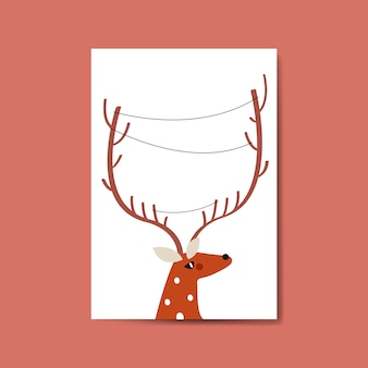 Reindeer head with lines around horn vector