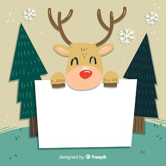Reindeer holding blank sign background