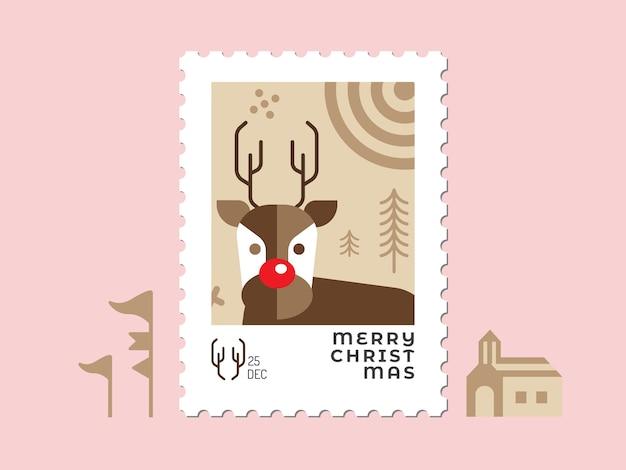 Олень в коричневых тонах - рождественская марка плоский дизайн для поздравительной открытки и многоцелевой