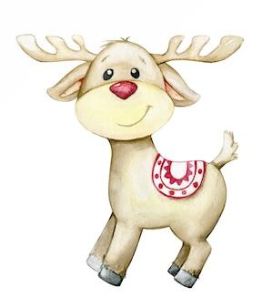 漫画風のトナカイ。クリスマスカードのための、孤立した背景の水彩画の動物。