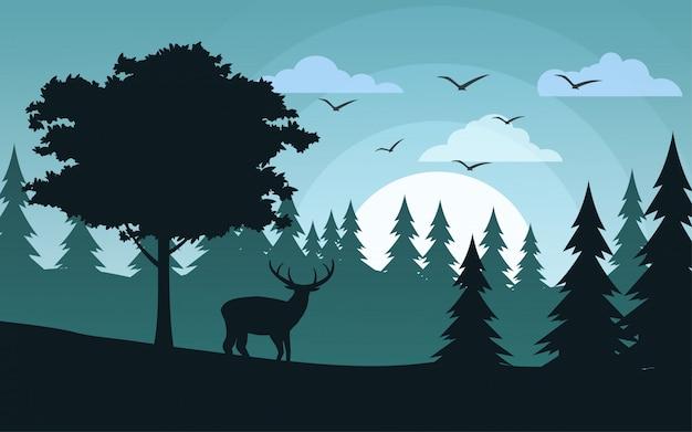 소나무 숲에서 순록