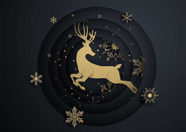 Reindeer jump in circle with gold snowflake