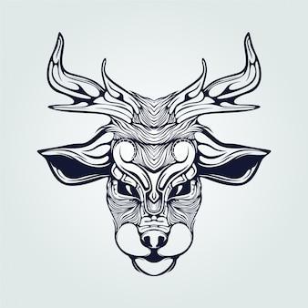 Reindeer line art tattoo in dark blue color