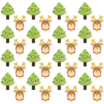 Reindeer and pine tree cartoon of chistmas design