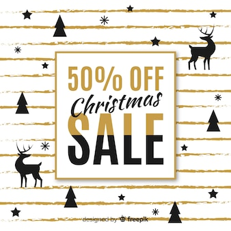 Reindeer and pines silhouette christmas sale background