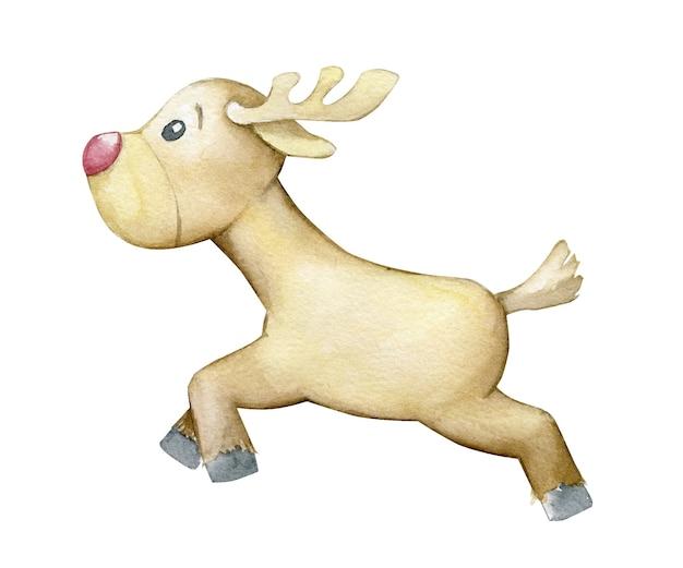 トナカイ、走っている。漫画のスタイルで、孤立した背景に水彩の動物。素晴らしい、動物