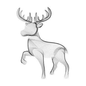 검은 점과 입자로 구성된 순록 실루엣. 곡물 질감이 있는 뿔이 있는 사슴의 3d 벡터 와이어프레임. 흰색 배경에 고립 된 점선 구조로 추상적인 기하학적 아이콘